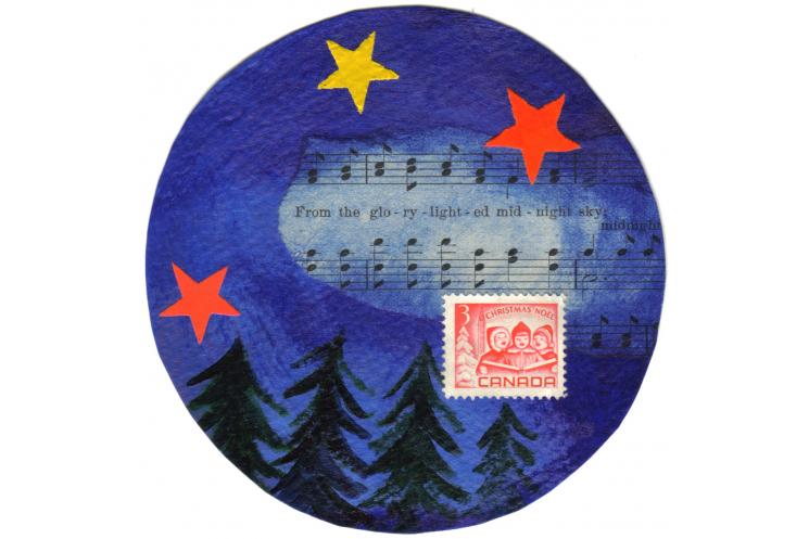 Midnight sky Christmas card