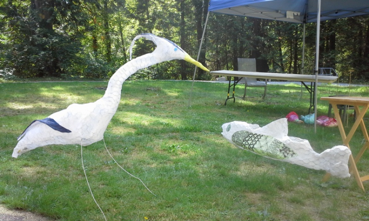 Heron and salmon lanterns