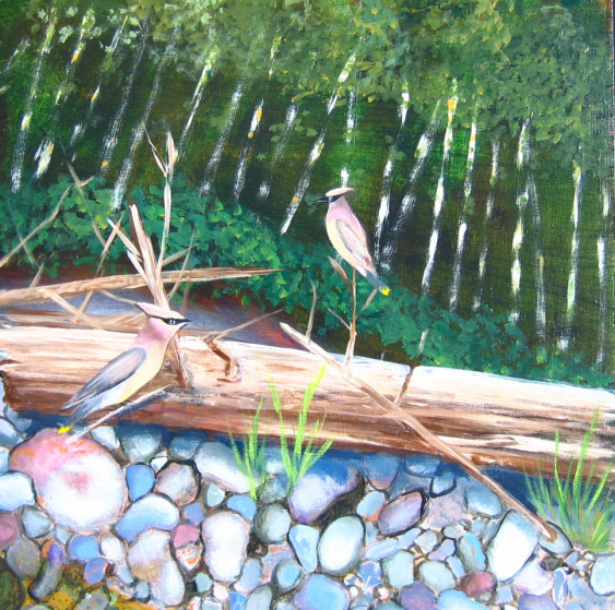 Up the Creek - detail (waxwings)
