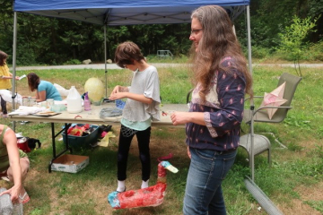Outdoor lantern-making workshop