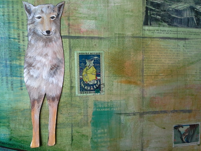 Coyote on city background